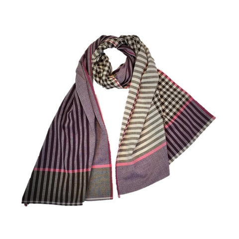 "NUNO Light Shawl: ""Gingham Stripe"" (Purple Mix)"