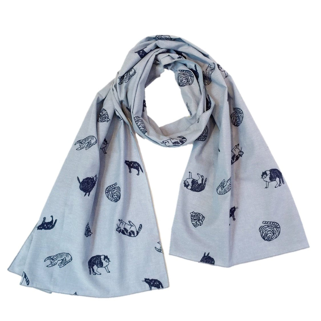 "NUNO Scarf: ""Calico Cats"" (Sky Blue)"