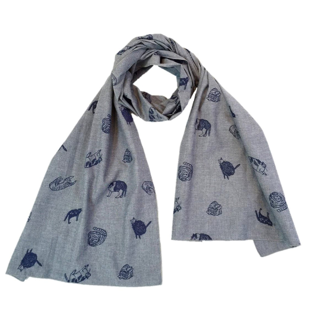 "NUNO Scarf: ""Calico Cats"" (Denim Blue)"
