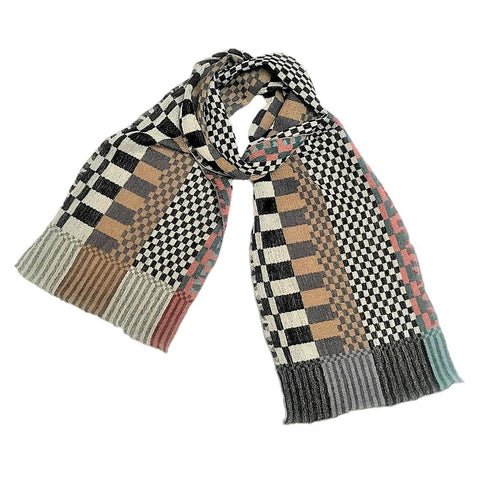 "NUNO Narrow Shawl: ""Checkered Checks"" (Multicolored)"