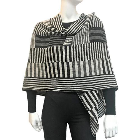 "NUNO One-Armhole Shawl: ""Color Plates"" (Black/White/Gray)"