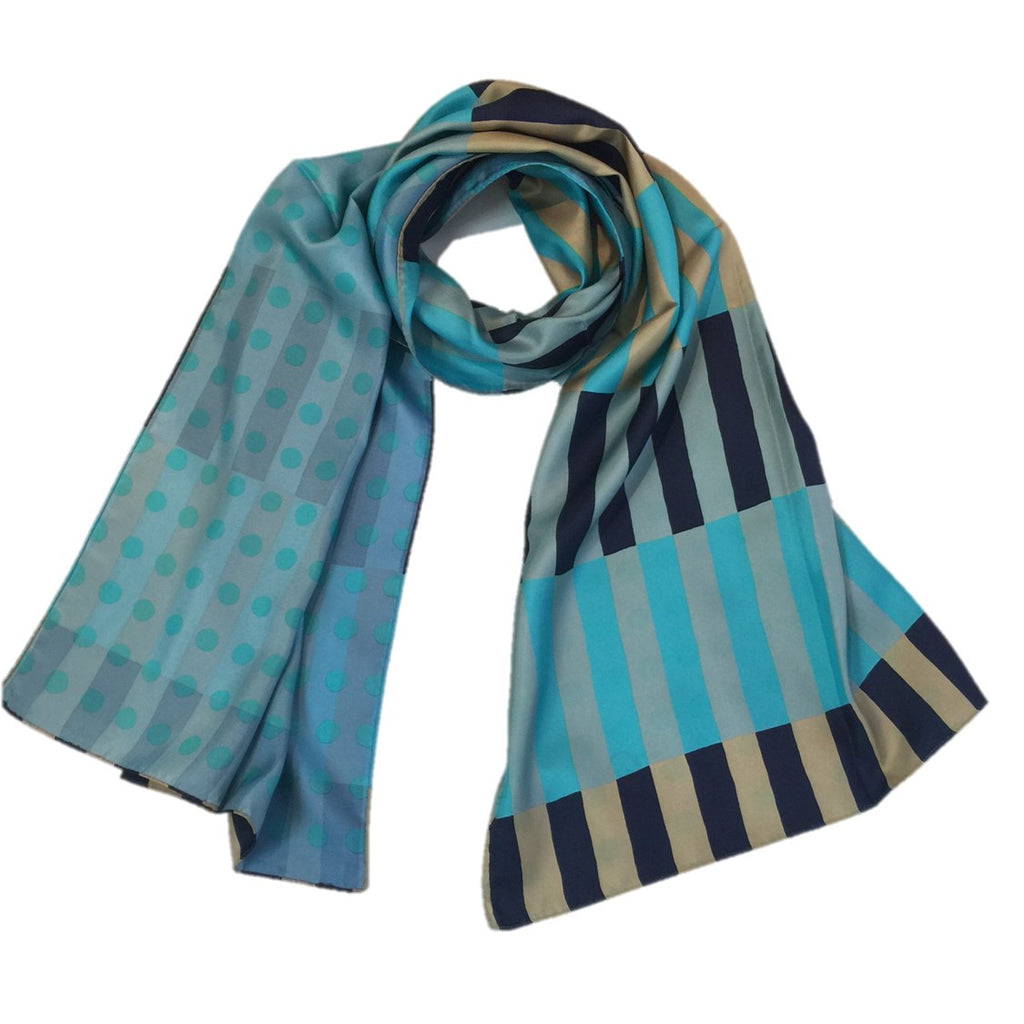 "Kibiso Scarf: ""Stripes and Dots"" (Blue/Navy)"