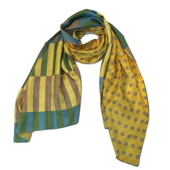 "Kibiso Scarf: ""Stripes and Dots"" (Yellow/Green)"