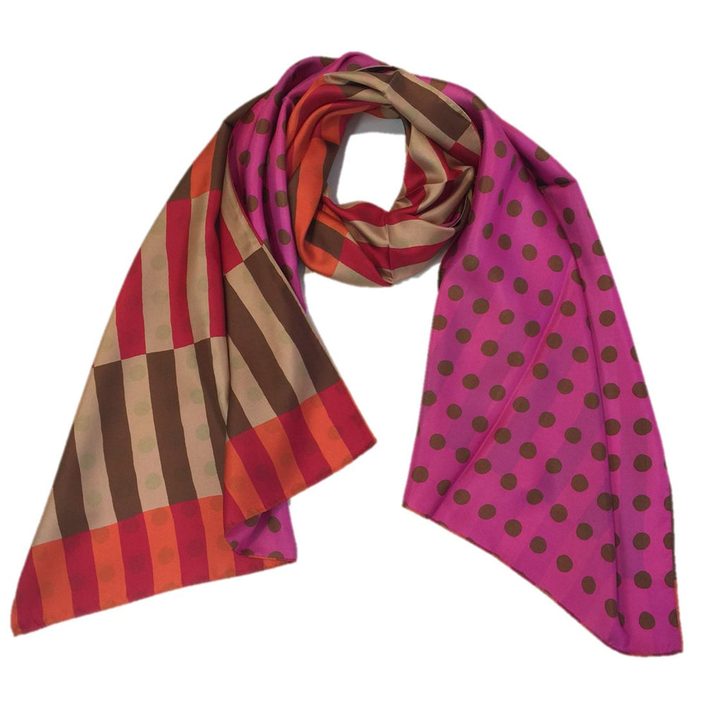 "Kibiso Scarf: ""Stripes and Dots"" (Orange/Pink)"