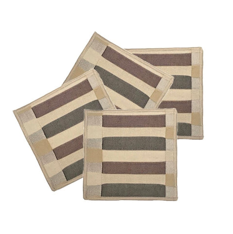 "NUNO 4-Coaster Set: ""Bookshelf"" (Brown/Beige)"