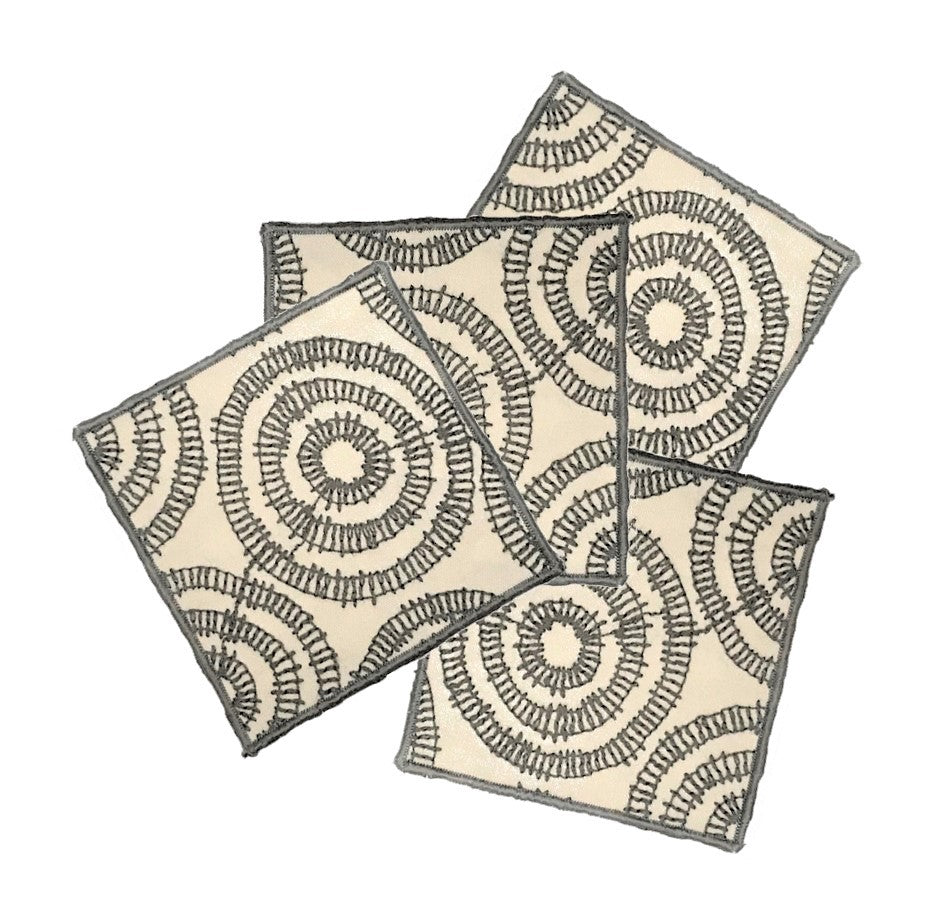 "NUNO 4-Coaster Set: ""Phylum"" (Natural/Gray)"