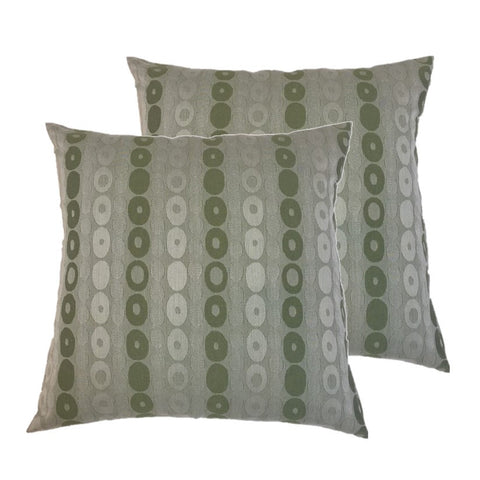 "NUNO Throw Pillow Pair: ""Donuts"" (Green)"