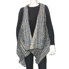 "NUNO Two-Armhole Shawl (Vest): ""Hittsuki Mushi"" (Blue/White/Black)"