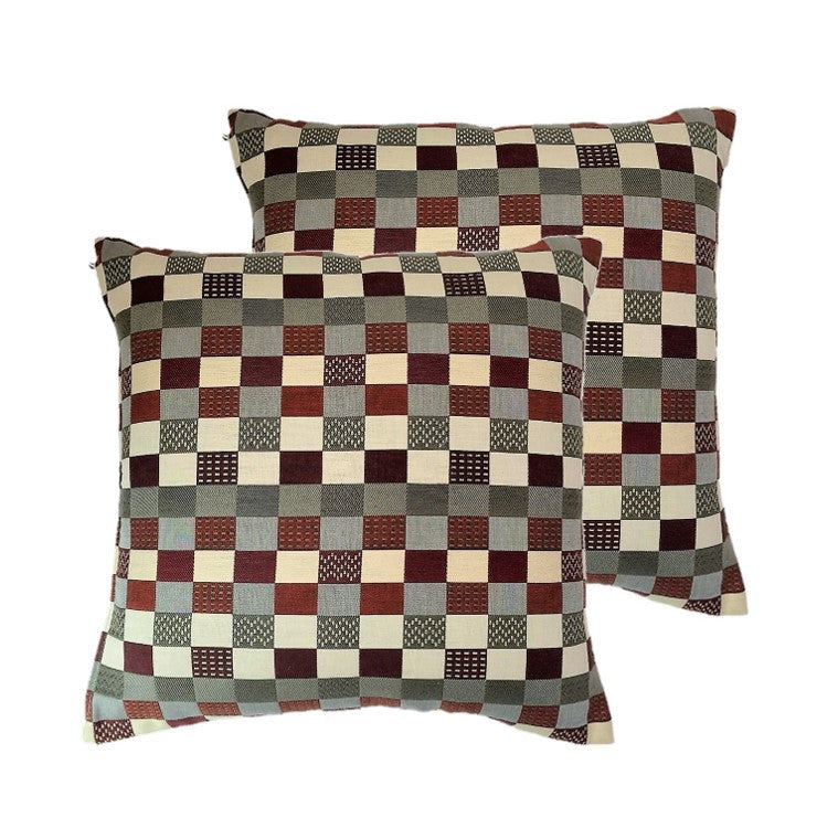 "NUNO Throw Pillow Pair: ""Jonathan Checker"" (Red Mix)"