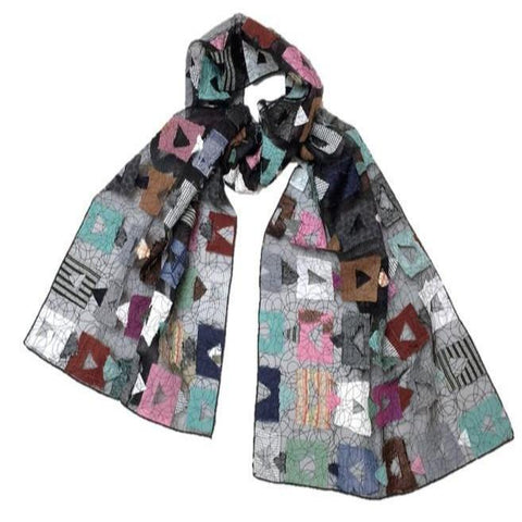 "NUNO Scarf: ""Kasane"" (Multicolored on Black)"