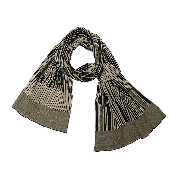 "NUNO Oversized Scarf: ""Keyboard"" (Beige/Black)"