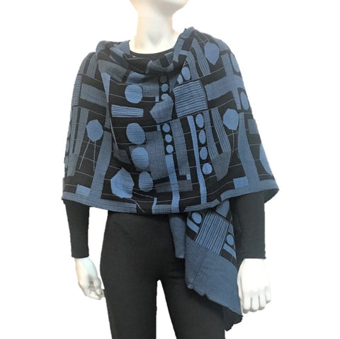 "NUNO One-Armhole Shawl: ""Kites"" (Blue/Black)"