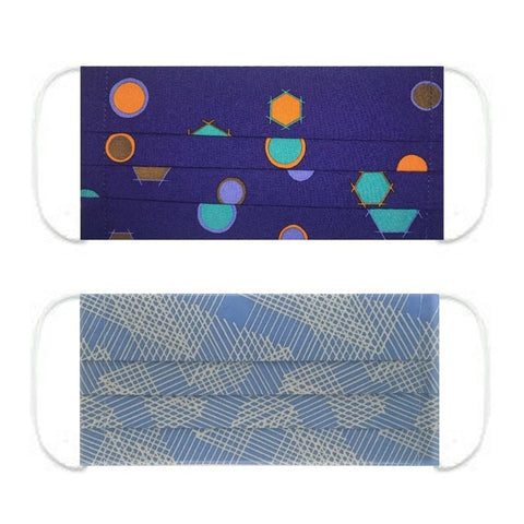 "NUNO Pleated Facemask 2-Piece Set: ""Lantern Festival"" (Dark Blue Mix) & ""Origami Slide"" (Blue/Gray)"