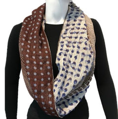 "NUNO Infinity Shawl/Shrug: ""Lentils"" (Blue/White/Brown)"