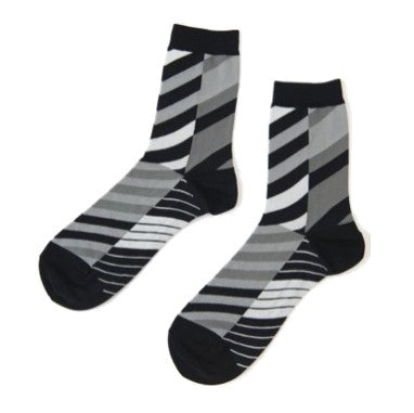 "ANTIPAST Socks: ""Arrow Feathers"" (Black/White)"