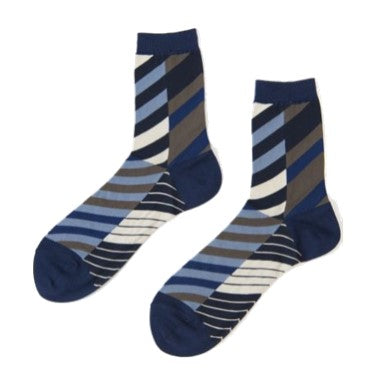 "ANTIPAST Socks: ""Arrow Feathers"" (Navy/White)"