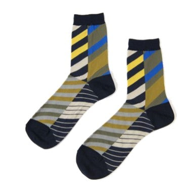 "ANTIPAST Socks: ""Arrow Feathers"" (Navy/Yellow)"