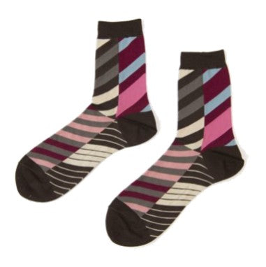 "ANTIPAST Socks: ""Arrow Feathers"" (Brown/Pink)"