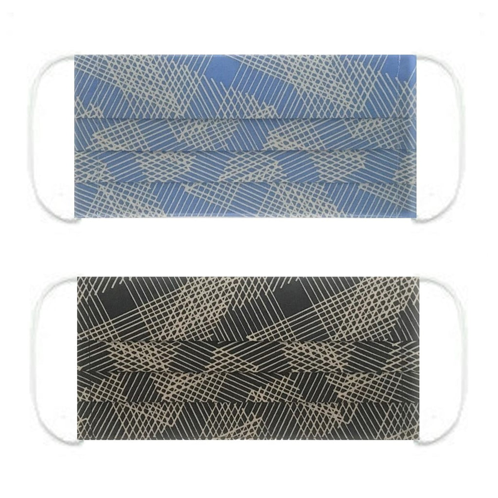 "NUNO Pleated Facemask 2-Piece Set: ""Origami Slide"" (Blue/Gray) & ""Origami Slide"" (Black/Beige)"
