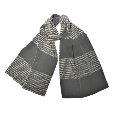 "NUNO Scarf: ""Papillion Boarder"" (Gray/Cream)"