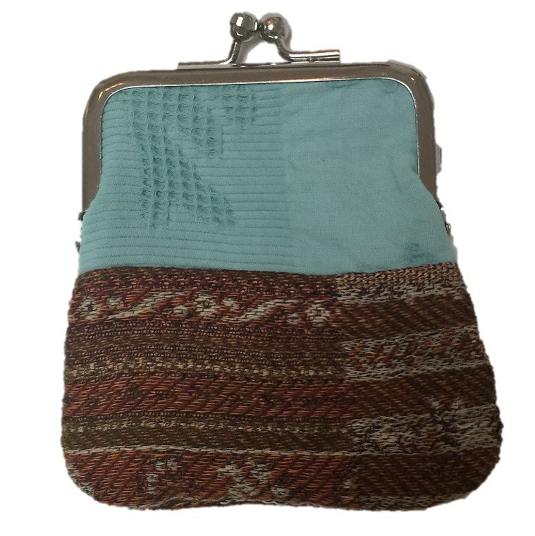 "NUNO Coin Purse: ""OriOri"" (Turquoise/Brown)"
