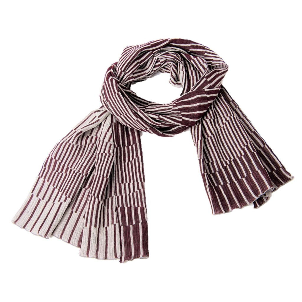 "NUNO Shawl: ""Surf"" (Burgandy/White)"