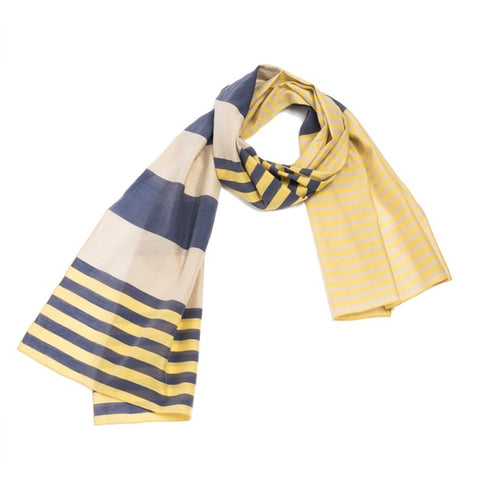 "NUNO Scarf: ""Rhythmic Border"" (Navy/Yellow)"