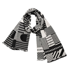 "NUNO Scarf: ""35th Anniversary Overspun Cotton Scarf"" (White/Black)"