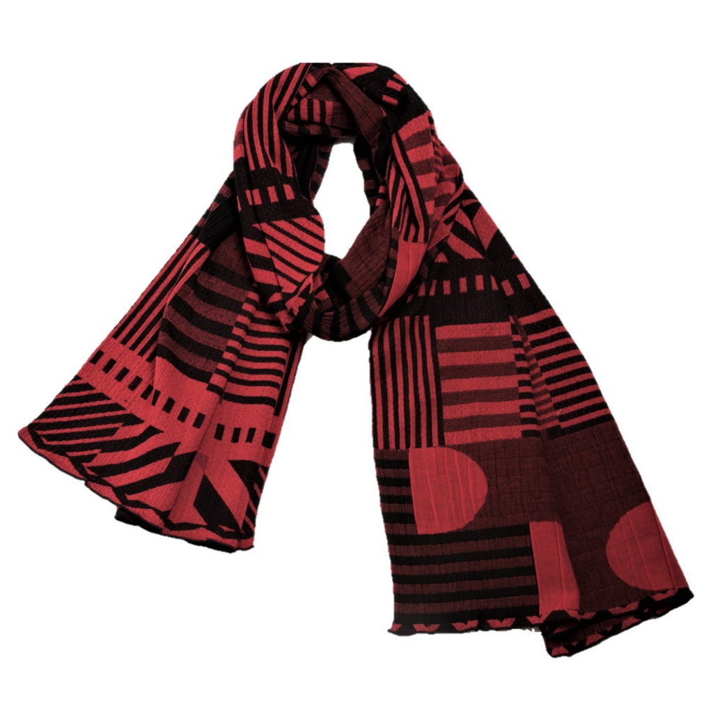 "NUNO Scarf: ""35th Anniversary Overspun Cotton Scarf"" (Red/Black)"