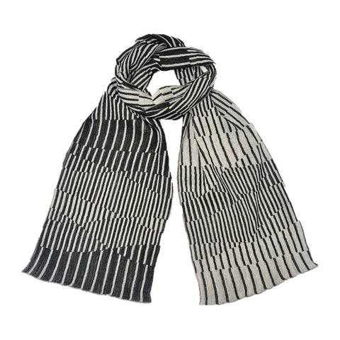 "NUNO Narrow Shawl: ""Surf"" (Black/White)"