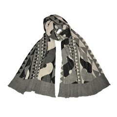 "NUNO Shawl: ""Rope"" (Black/White)"