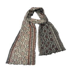 "NUNO Narrow Shawl: ""Hittsuki Mushi"" (Brown/Black/White)"