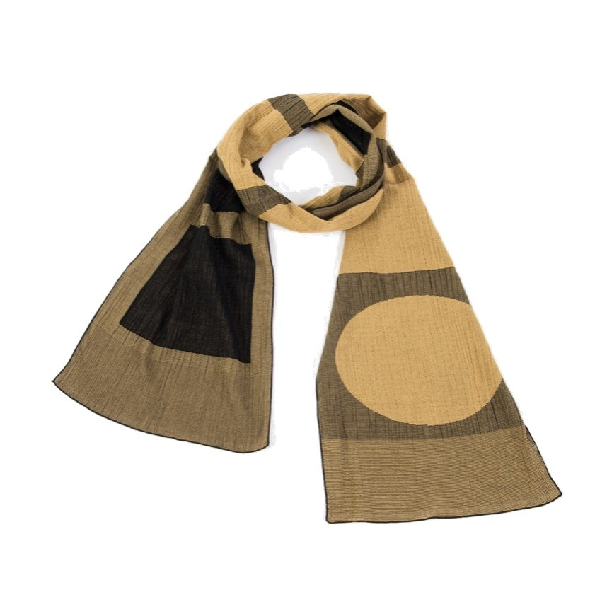 "NUNO Scarf: ""Ellipse and Rectangle"" (Yellow/Black)"
