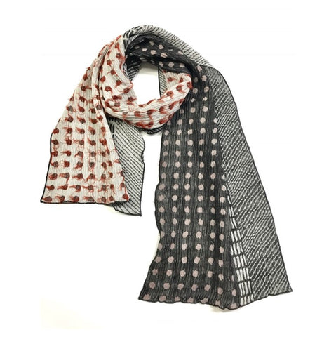 "NUNO Narrow Shawl: ""Lentils"" (Red/White/Black)"