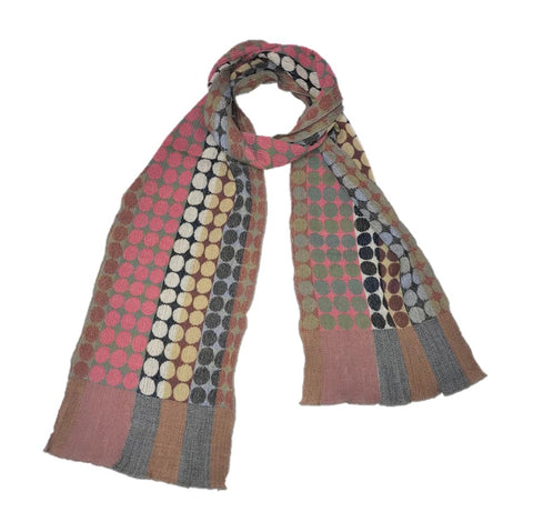 "NUNO Narrow Shawl: ""Circle Bricks"" (Pink Mix)"