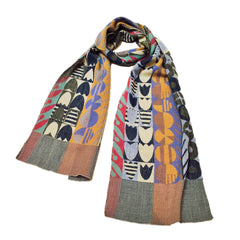 "NUNO Narrow Shawl: ""Sundance"" (Blue Mix)"