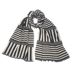 "NUNO Scarf: ""Stripy Stripe"" (White/Black, Wide)"