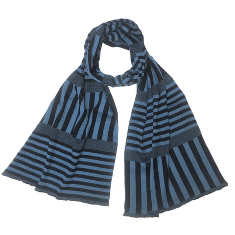 "NUNO Scarf: ""Stripy Stripe"" (Blue/Black, Wide)"