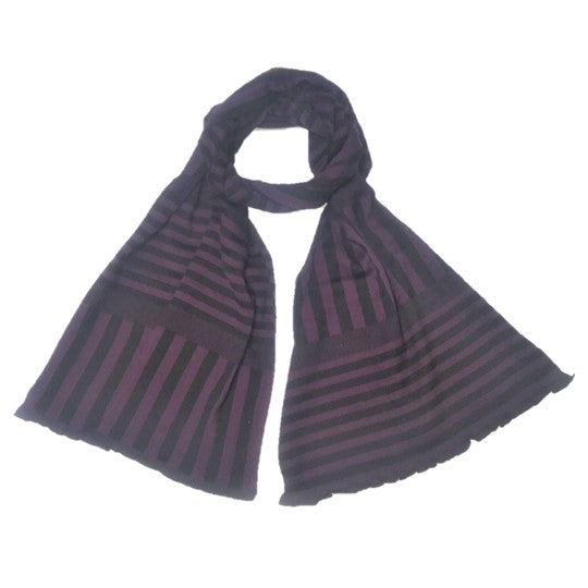 "NUNO Scarf: ""Stripy Stripe"" (Purple/Black, Wide)"