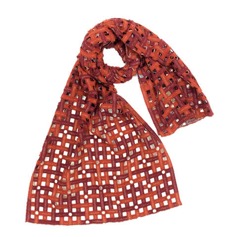 "NUNO Scarf: ""Froth"" (Red/Orange)"