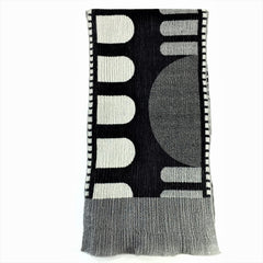 "NUNO Narrow Shawl: ""Roll Up"" (White/Black)"