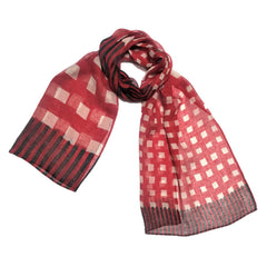 "NUNO Scarf: ""Box Stripe"" (Crimson/Eggshell/Green)"