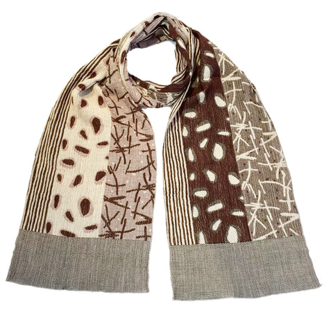 "NUNO Narrow Shawl: ""Watayuki"" (Brown/Beige)"