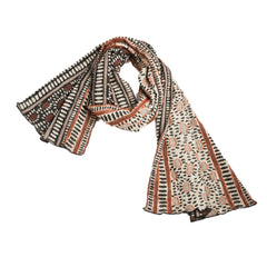 "NUNO Shawl: ""Hittsuki Mushi"" (Brown/Black/White)"
