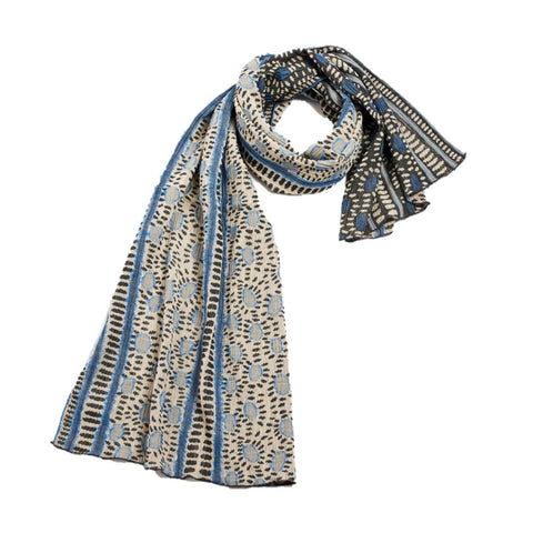 "NUNO Shawl: ""Hittsuki Mushi"" (Blue/Black/White)"