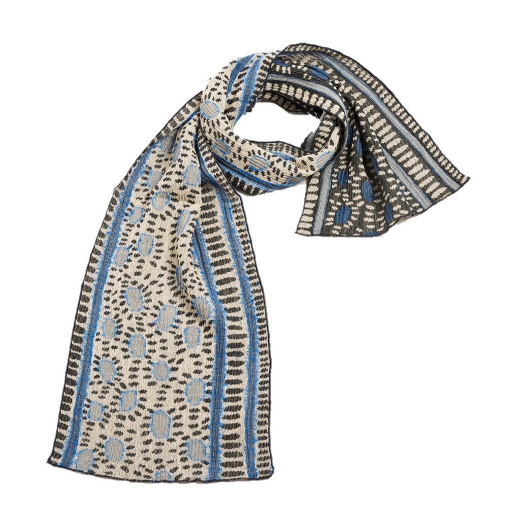 "NUNO Narrow Shawl: ""Hittsuki Mushi"" (Blue/Black/White)"