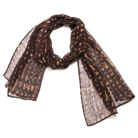 "NUNO Scarf: ""Brushstrokes"" (Brown/Burgundy)"