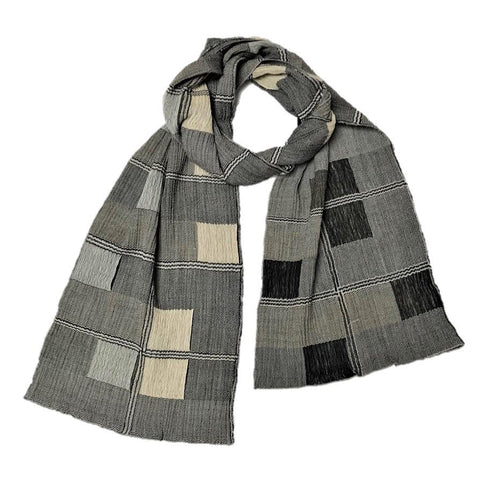 "NUNO Narrow Shawl: ""Window Panes"" (Beige/Black)"