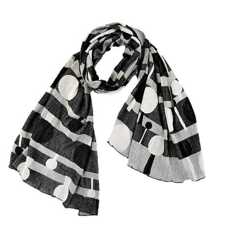 "Kibiso Shawl: ""Kibiso Tree Tree"" (Black/White)"