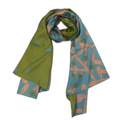 "Kibiso Scarf: ""Berries&Branches"" (Turquoise&Green)"